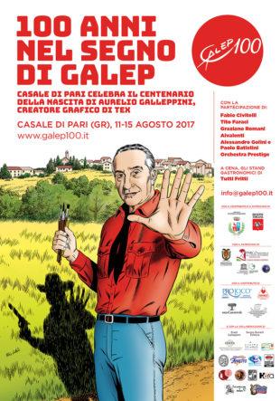 Layout del manifesto per il centenario di Galep a Casale di Pari (disegno originale di Fabio Civitelli)